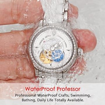 Prince Gera Damenuhr Keramik automatische Diamanten Kleid Armbanduhr für Damen Geschenk (Silber) - 5