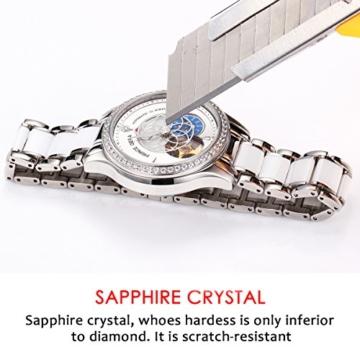 Prince Gera Damenuhr Keramik automatische Diamanten Kleid Armbanduhr für Damen Geschenk (Silber) - 6