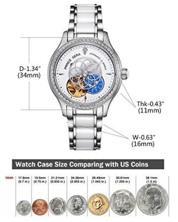 Prince Gera Damenuhr Keramik automatische Diamanten Kleid Armbanduhr für Damen Geschenk (Silber) - 7