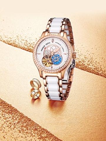 Prince Gera Damenuhr Keramik automatische Diamanten Kleid Armbanduhr für Damen Geschenk (Rose Gold) - 3