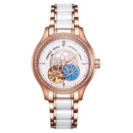 Prince Gera Damenuhr Keramik automatische Diamanten Kleid Armbanduhr für Damen Geschenk (Rose Gold) - 1