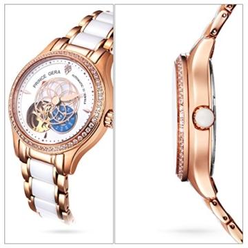 Prince Gera Damenuhr Keramik automatische Diamanten Kleid Armbanduhr für Damen Geschenk (Rose Gold) - 4