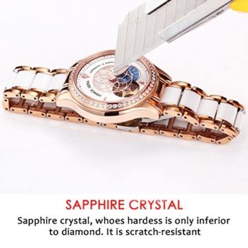 Prince Gera Damenuhr Keramik automatische Diamanten Kleid Armbanduhr für Damen Geschenk (Rose Gold) - 6