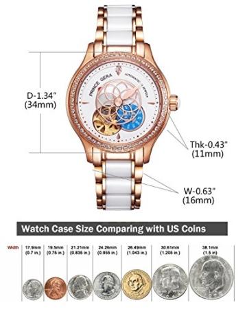 Prince Gera Damenuhr Keramik automatische Diamanten Kleid Armbanduhr für Damen Geschenk (Rose Gold) - 7