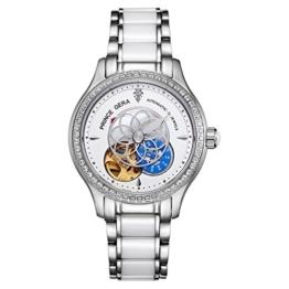 Prince Gera Damenuhr Keramik automatische Diamanten Kleid Armbanduhr für Damen Geschenk (Silber) - 1