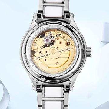 Prince Gera Damenuhr Keramik automatische Diamanten Kleid Armbanduhr für Damen Geschenk (Silber) - 2