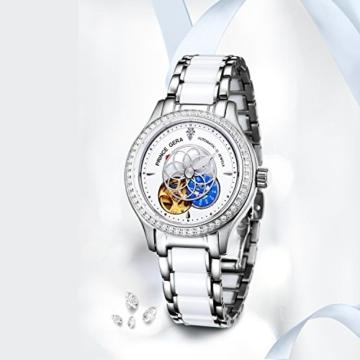 Prince Gera Damenuhr Keramik automatische Diamanten Kleid Armbanduhr für Damen Geschenk (Silber) - 3