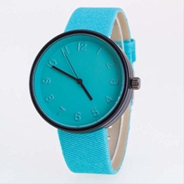 Lzlhm Vegetarian Candy-Colored Canvas Belt Watch Fashion Watch Male and Girl Couple Watch Blue - 1