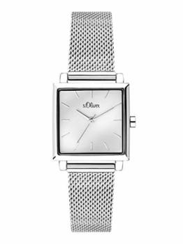 s.Oliver Damen Analog Quarz Uhr mit massives Edelstahl Armband SO-3710-MQ - 1
