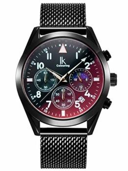 Alienwork Herren Damen Armbanduhr Quarz schwarz mit Metall Mesh Armband Edelstahl Kalender Datum elegant - 1