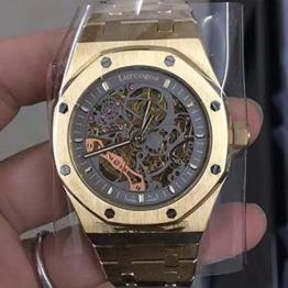 Automatikuhr Luxusmarke Automatic Mechanical goldgrau Herrenuhr Sapphire Glass Transparent Skeleton Gold Tourbillion Uhren AAA (01) - 1