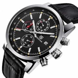 Chronograph Sport Herren Top Brand Man Armbanduhr Quarz Schwarz - 1