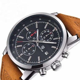 Chronograph Sport Herren Top Brand Man Uhren Quarz Braun - 1