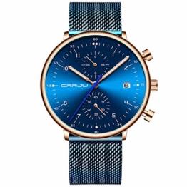 Armbanduhren Herren Sportuhr Mode Multifunktionale Sechs Pin Mesh Gürtel Business Uhr Blau - 1