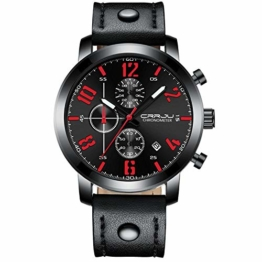Armbanduhren Herren Sportuhr Multifunktions Chronograph Mode Lässig Schwarz - 1