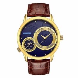 Armbanduhren Herrenuhr Dual Time Zone Sport Und Freizeituhr Gold Shell Blue Noodle - 1