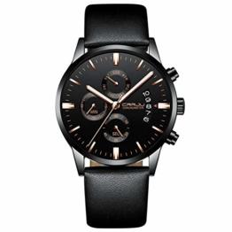 Armbanduhren Herrenuhr Sechszeiger Chronograph Multifunktionsuhr Wochenkalender Display Schwarz E - 1