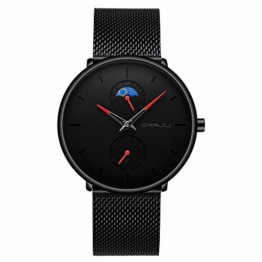 Armbanduhren Lässige Personalisierte Uhrenmode Herren wasserdichte Uhr Black Shell Black Face Red Needle - 1