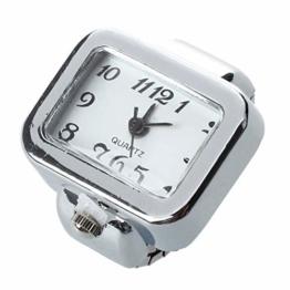 Beauneo Quarzuhr Ring Uhr Digital Zifferblatt arabische Rechteck Weisse Unisex Schmucksachen - 1