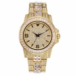 Bling Iced Out Diamond Uhr mit Zirkonia und Quarzwerk Uhr mit Metallarmband - 1
