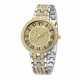 Bling Iced Out Silber/Gold Runde Herrenuhr Simulierte Kristalle Uhr für Damen - 1