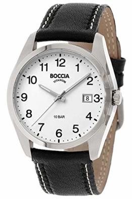 Boccia Titan Herrenuhr mit schwarzem Lederband 3608-13 - 1