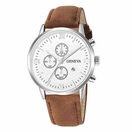 DECTN Armbanduhr Fashion Geneva Herren Date Alloy Case Kunstleder Analog Quarz Sportuhr Herrenuhr, Braun A - 1