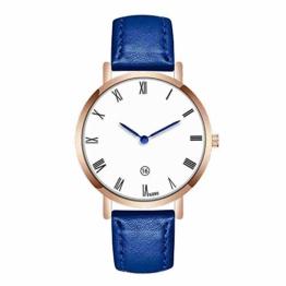 DECTN Armbanduhr Fashion Large Dial Military Quarz Herrenuhr Leder Sportuhren Hochwertige Uhr Armbanduhr, Blau - 1