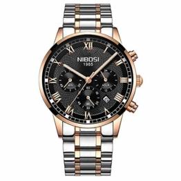 DECTN Armbanduhr Männer Sportuhren Herren Voller Stahl Quarz Gold Uhr Montre Man wasserdichte Armbanduhr, E - 1