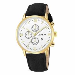 DECTN Armbanduhr Mode Genf Männer Datum Legierung Fall Kunstleder Analog Quarz Sportuhr männliche Uhr, schwarz H - 1