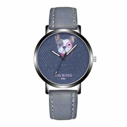 DECTN Armbanduhr Mode Herren Leder Casual Quarz-Armbanduhr Hundemuster Uhren FashionHour Clocks, grau - 1
