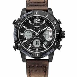 FEICE Herren Armbanduhr mit japanischem Quarzwerk Wasserdichtes Multifunktionslederarmband-FK038 - 1