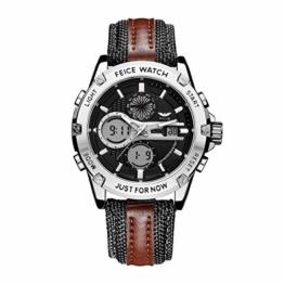 FEICE Herren Armbanduhr mit japanischem Quarzwerk Wasserdichtes Multifunktionslederarmband-FK035 - 1