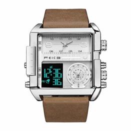 FEICE Herren Quarzuhr Multifunktions 24H Kalender Lederarmband Armbanduhr Einzigartig - FK030 - 1