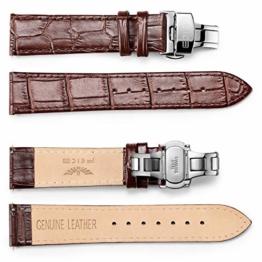FEICE - Lederarmbänder, Armband mit Faltschließe, 20 mm Breite für Bauhaus Automatikuhr - 1