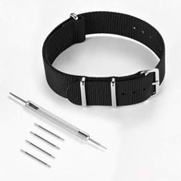 FEICE - Nylonarmbänder mit Schnalle, Schwarze Armbandbreite 20mm für Bauhaus Automatikuhr - 1