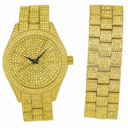 Full Iced Out Bling Uhr Armband Set - Gold/Gold - 1