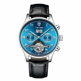 Hellery Herren Automatic Mechanical Watch Lederband Luminous Multifunktions - 1