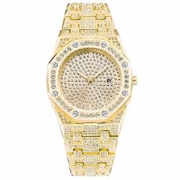 Herren/Damen Diamond Watch Bling Iced-Out Uhr Silber/Gold Mode Quarz Analoge Armbanduhr mit Edelstahlband - 1
