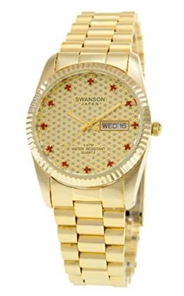 Swanson Herren-Armbanduhr, Goldfarben, Pavé-Fassung, Zifferblatt mit Reiseetui - 1