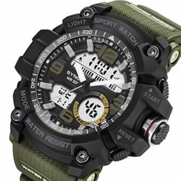Bovake Fitness-Tracker, Smart-Watch, großes Zifferblatt, digital, Quarz, LED, Militär-Stil, wasserdicht, Armee-grün, Schwarz - 1