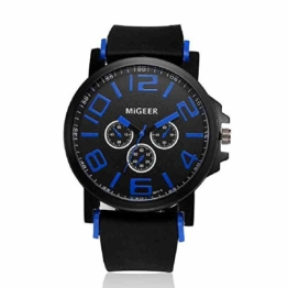 DECTN Armbanduhr Uhr Männer Mode Silikonarmband Sport Coole Quarz Stunden Handgelenk Analog Wacht Männer Fitness Heren Horloge Top Femme, Blau - 1