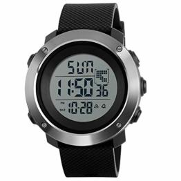 Digitaluhr für Herren, Outdoor-Sportuhr, wasserdicht, modische Uhr mit Wecker, Sekunden, leuchtendes Nachtlicht (Schwarz) - 1