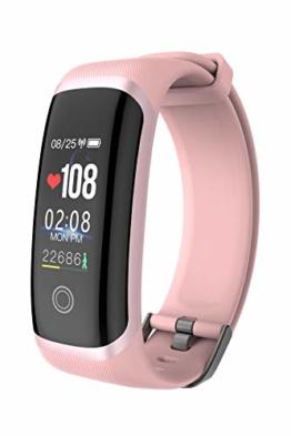 Fitness Tracker Armbanduhr Damen Herren Herzfrequenz Wasserdicht Uhr mit Schrittzähler Kalorienzähler Blutdruckmessgerät Handgelenk Schlaftracker Smartwatch - 1