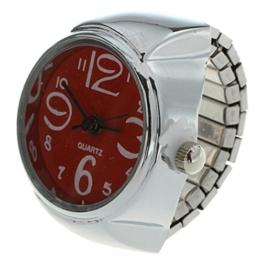 Fltaheroo Ring Uhr Quarzwerk Legierung runde Zifferblatt rote Schmucksachen - 1