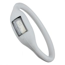 Fltaheroo Sport Digital Silikon Gummi Jelly Anion Armband Armbanduhr Unisex Weiss - 1
