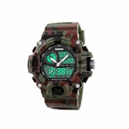 Herren-Armbanduhr, zum Klettern oder Wandern, wasserdicht, doppelte Zeit (Camouflage) - 1