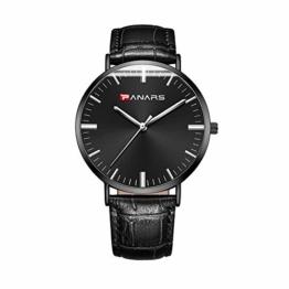 Herren-Quarzuhr wasserdicht Zeiger Outdoor Sport Armbanduhr Mode Business Casual Einfache Quarzuhr Schwarz Gürtel - 1