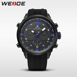 Herrenuhren Herren Sportuhr Militäruhr Kleideruhr Modeuhr Armbanduhr Digitaluhr Japanisch Quartz digitalKalender Wasserdicht Duale Zeitzonen Damenuhren (Farbe : Blau) - 1
