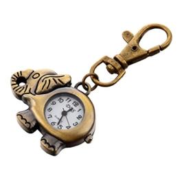 Jaimenalin Bronze Elefanten Anhaenger Haken Schluesselanhaenger Uhr - 1